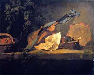 Musical Instruments and Basket of Fruit