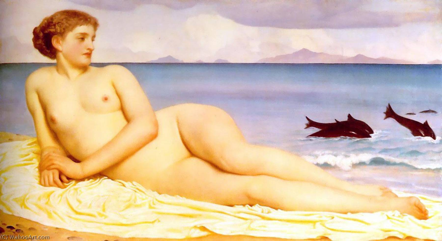 English Actaea, the Nymph of the Shore, 1858 by Lord Frederic Leighton (1830-1896, United Kingdom) | Paintings Reproductions Lord Frederic Leighton | WahooArt.com