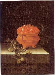 English Still life with a bowl of strawberries and a spray of gooseberries