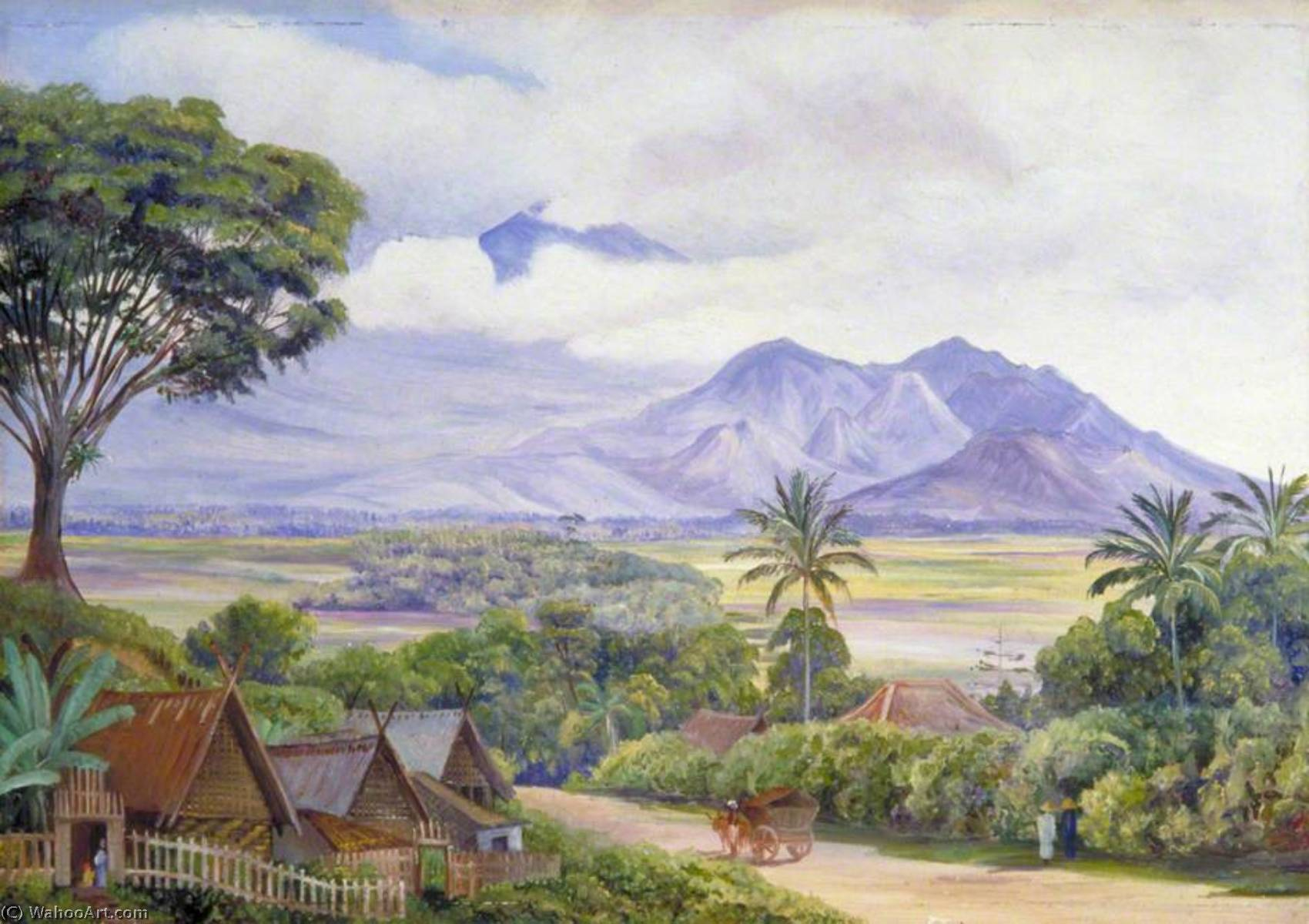 View From Malang Java 1876 By Marianne North 1830 1890 United Kingdom Reproductions Marianne North