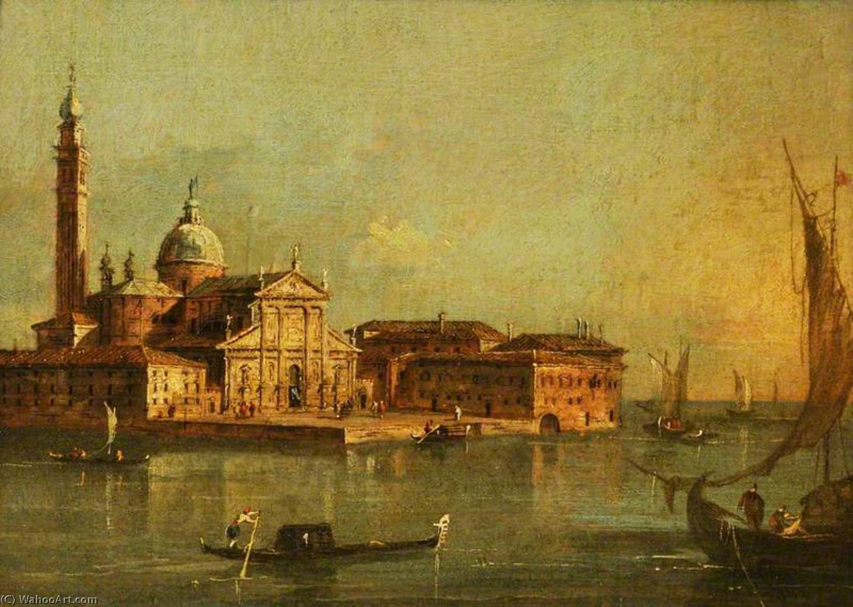 View of the Island of San Giorgio Maggiore, Venice, 1780 by Francesco  Lazzaro Guardi (1712-1793, Italy) | Art Reproductions Francesco Lazzaro  Guardi | WahooArt.com