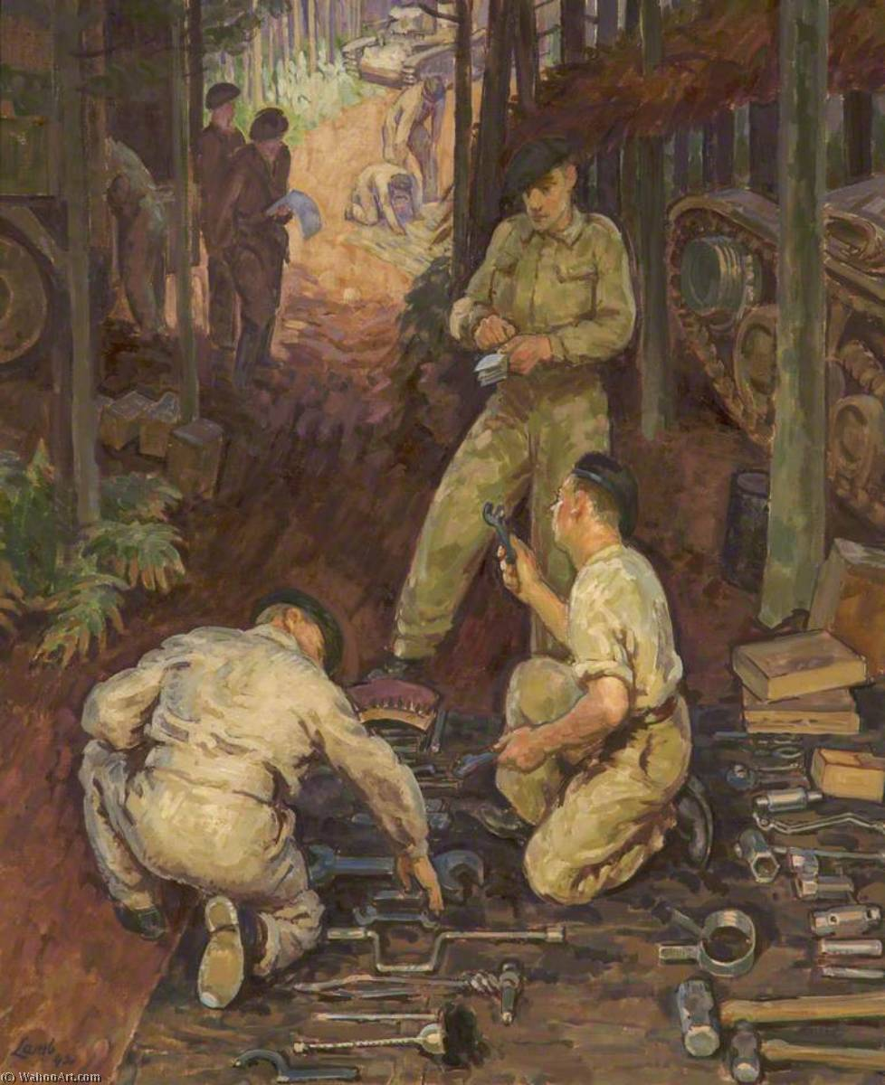 Tool Inspection, 1942 by Henry Lamb (1883-1960, Australia