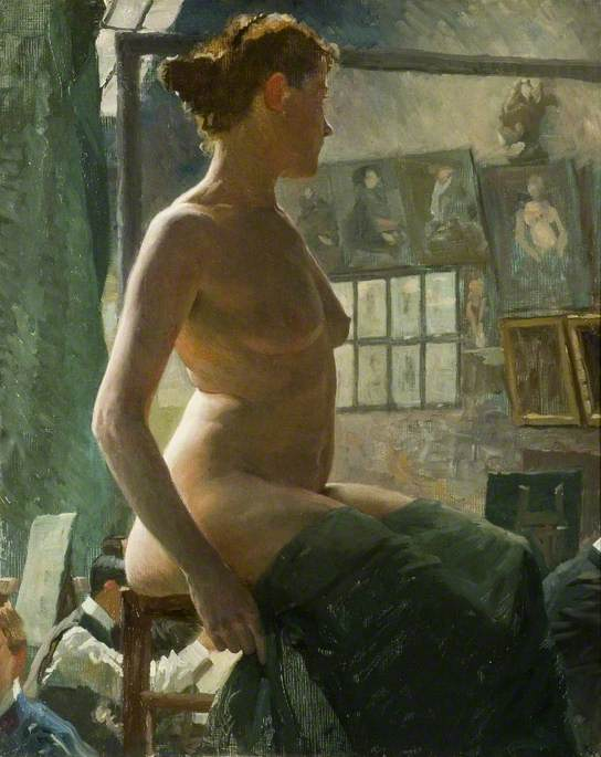 A Female Nude Seated at Julian`s Atelier, Rue du Dragon, 1902 by Alfred  James Munnings (1878-1959, United Kingdom) ...