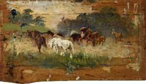 Lucy Elizabeth Kemp Welch - Study for 'Gypsy Horse Drovers'