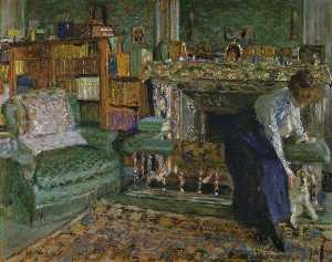 Jean Edouard Vuillard - Marguerite Chapin in Her Apartment with Her Dog