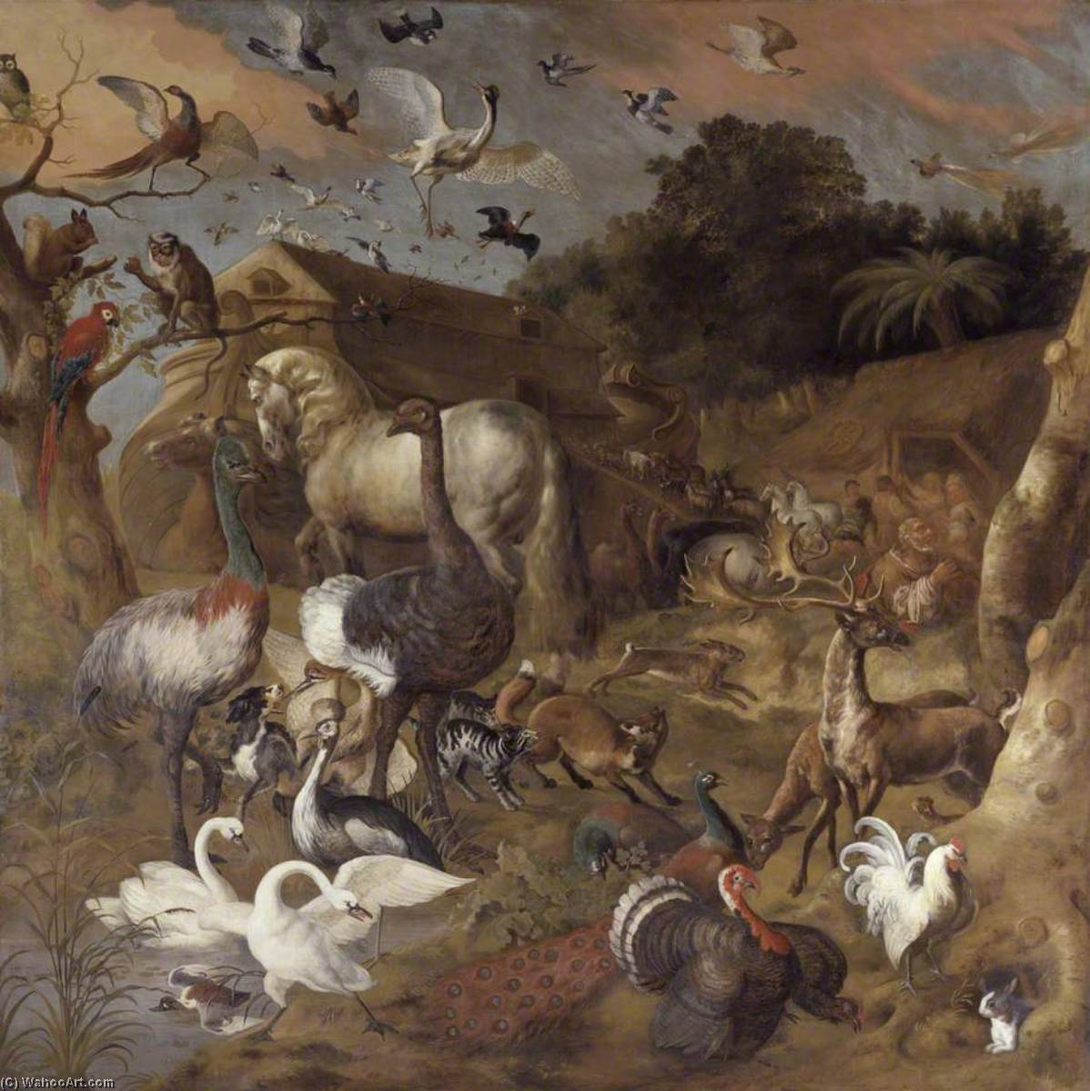 Noah`s Ark, 1710 by Jan Griffier (1652-1718, Netherlands) | Paintings Reproductions Jan Griffier | WahooArt.com