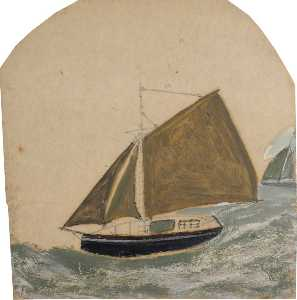 Two Ships with Brown Green Sails in Rising Sea