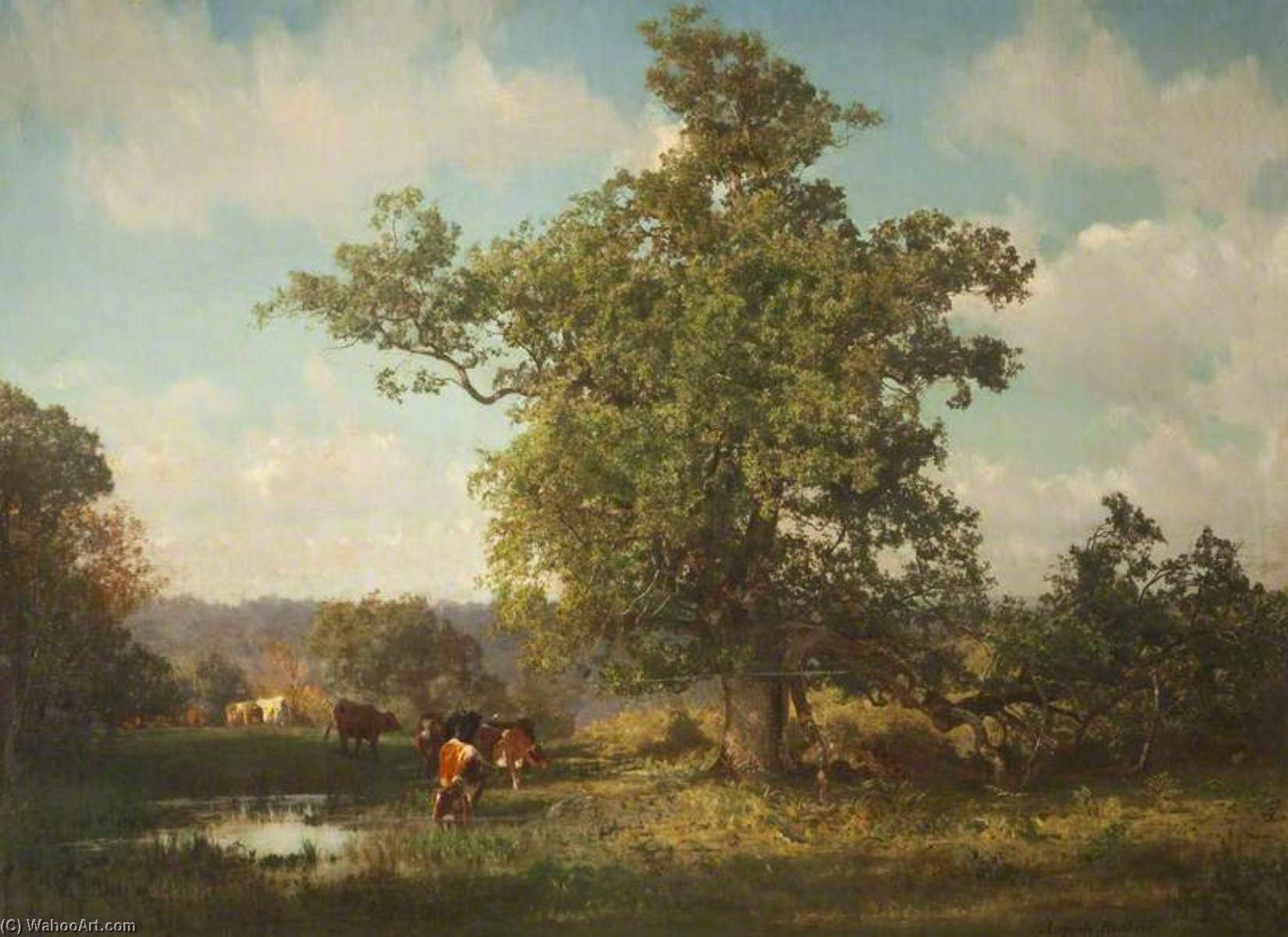 Oak Tree and Sylvan Glade, 1884 by Auguste François Bonheur (1824-1884, France) | Museum Quality Reproductions | WahooArt.com