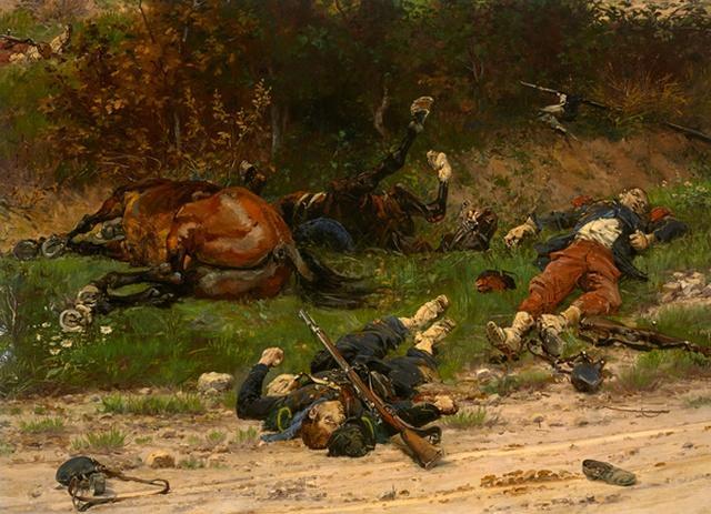 Nos morts - Victor Hugo Alphonse-de-Neuville-Chasseur-a-pied-lignard-et-chevaux-tues