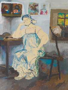 Philip Maliavin - Seated Woman in an Interior