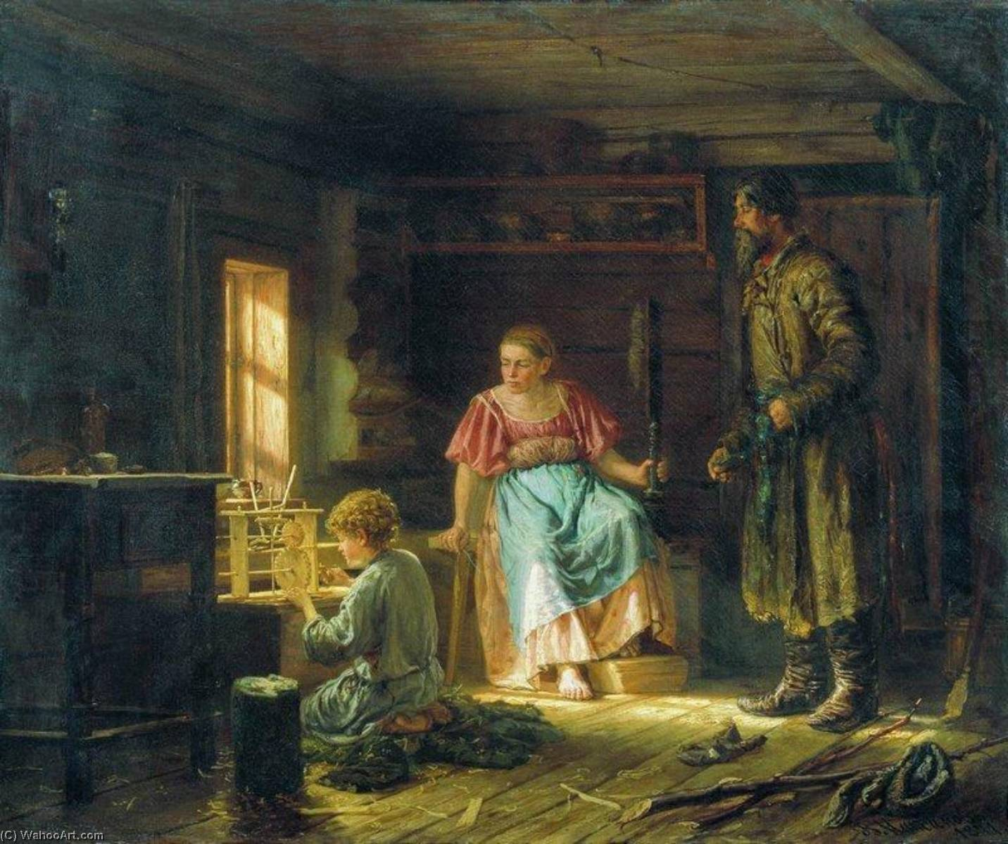The Little Mechanic, 1871 by Vasily Maximov | Museum Art Reproductions Vasily Maximov | WahooArt.com
