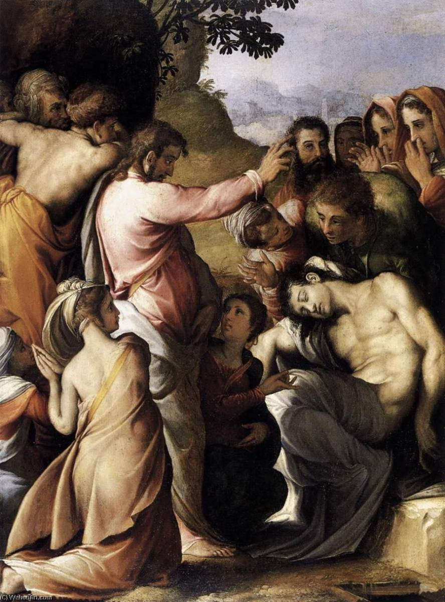 English Raising of Lazarus, 1540 by Francesco De' Rossi | Museum Quality Reproductions | WahooArt.com