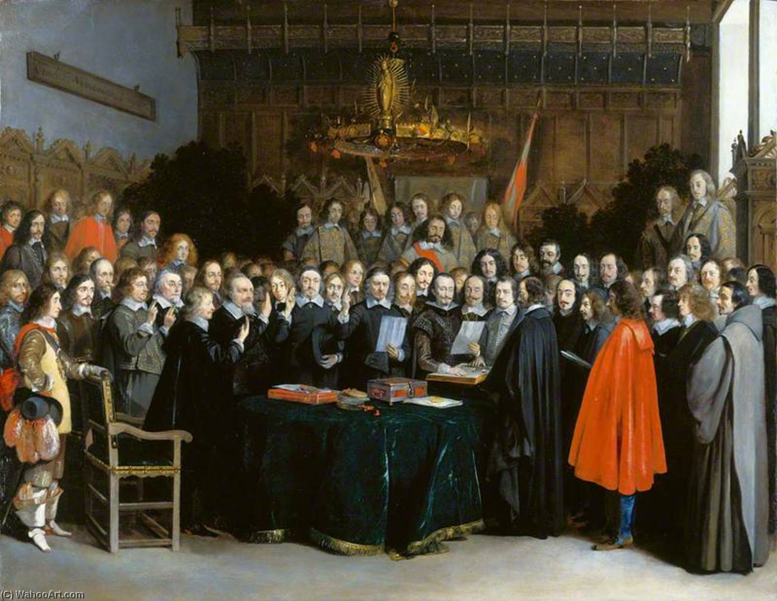 The Swearing of the Oath of Ratification of the Treaty of Münster, 1648 by Gerard Ter Borch The Younger (1617-1681, Netherlands) | Museum Quality Copies Gerard Ter Borch The Younger | WahooArt.com