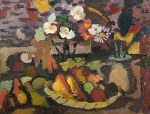 Theodor Kern - Still Life with a Fruit Bowl and a Jug with Flowers