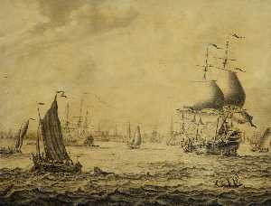 Dutch Merchantmen and Small Craft in a Roadstead