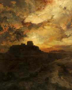 Thomas Moran - Sunset, Pueblo del Walpe, Arizona