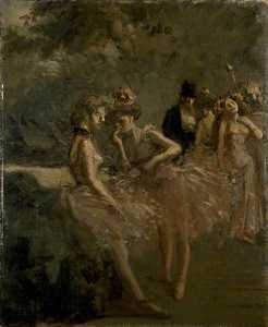 Jean Louis Forain - Scene in the Wings of a Theatre