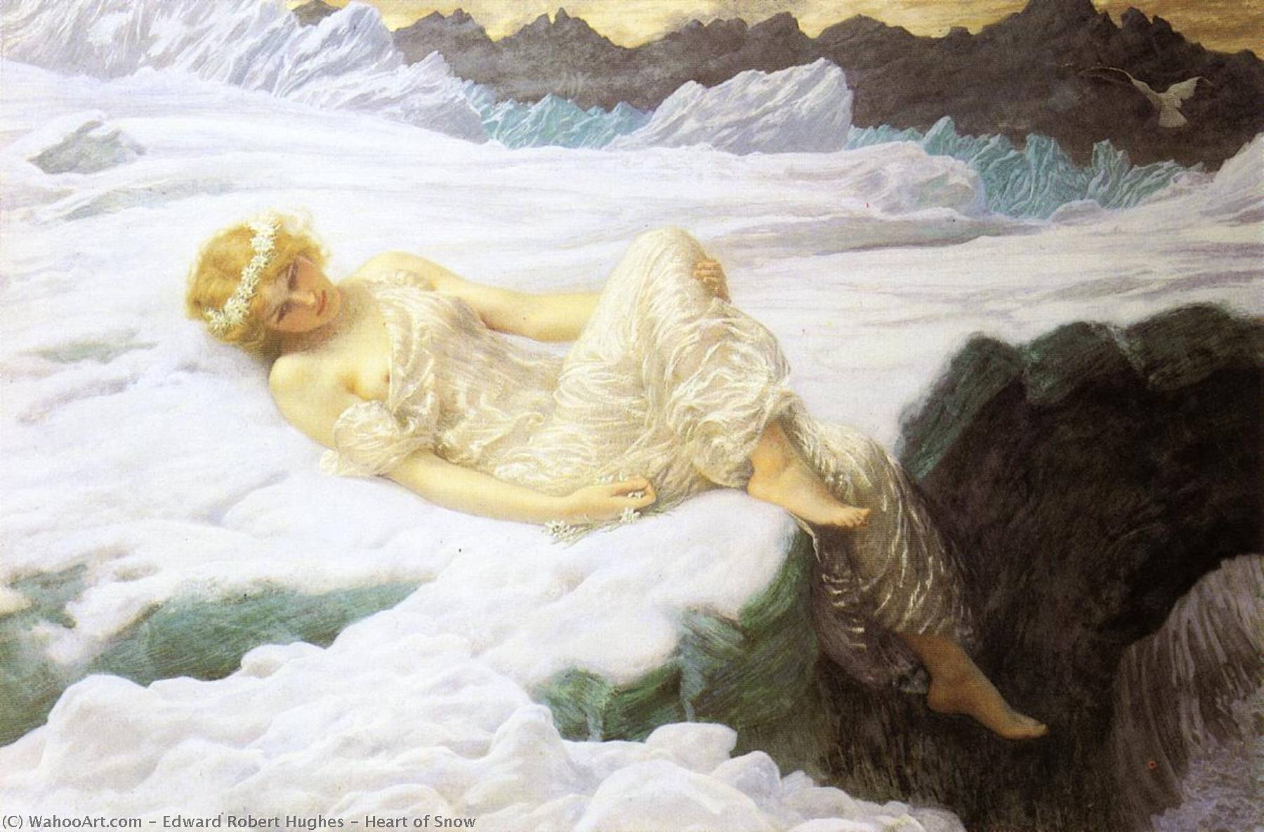 Heart of Snow by Edward Robert Hughes (1851-1914, United Kingdom) | Oil Painting | WahooArt.com