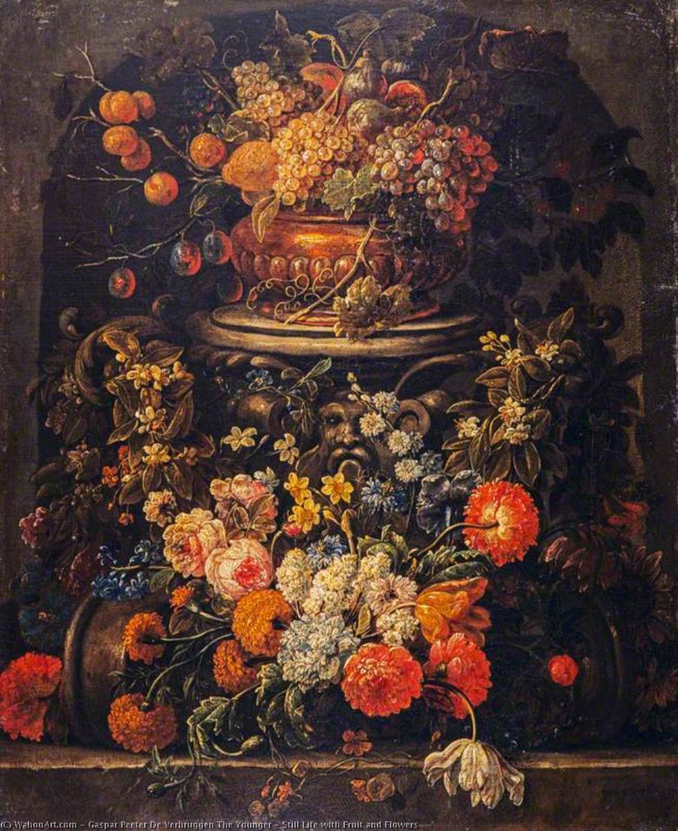 Still Life with Fruit and Flowers, 1700 by Gaspar Peeter De Verbruggen The Younger | Art Reproductions Gaspar Peeter De Verbruggen The Younger | WahooArt.com