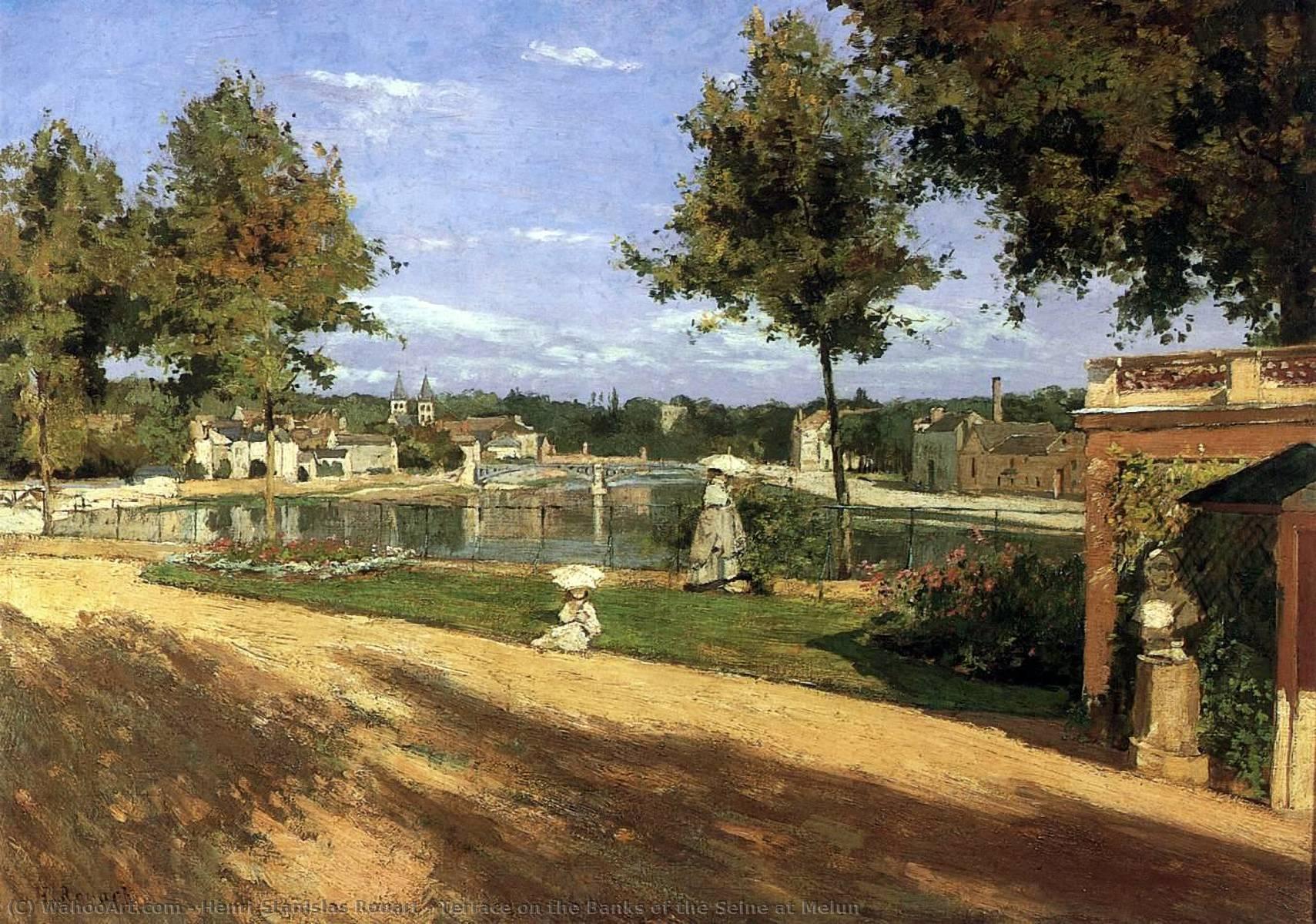 Terraza En El Bancos De Sena A Melun 1880 De Henri