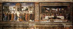 Pietro Perugino (Pietro Vannucci) - Scenes on the left wall