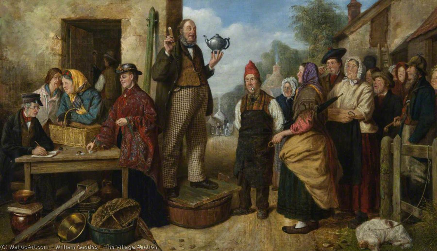 The Village Auction, 1868 by William Geddes | Paintings Reproductions William Geddes | WahooArt.com