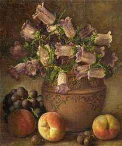 George Walter Harris - Still Life with Fruit and Canterbury Bells